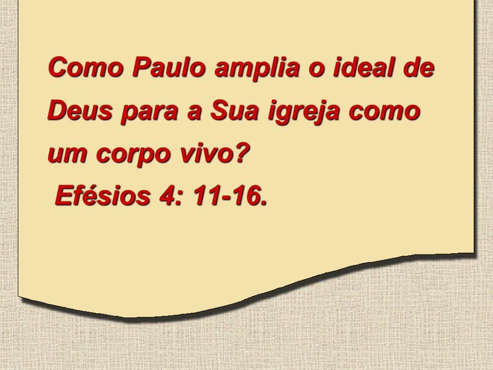 Como Paulo amplia o ideal de Deus para a Sua igreja como um corpo vivo