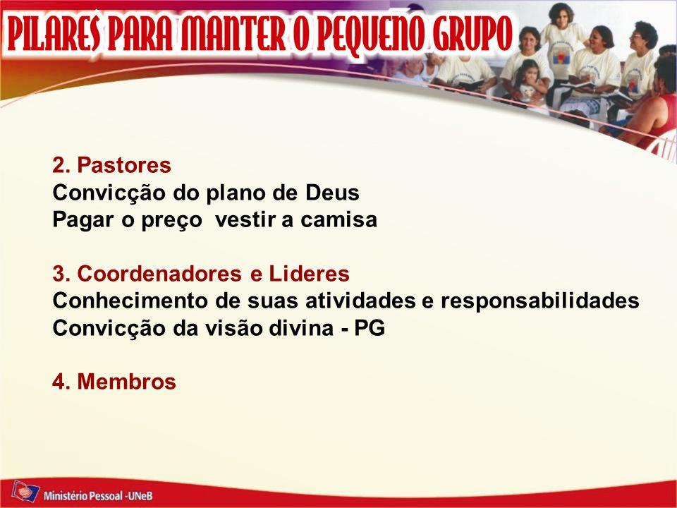 2. Pastores Convicção do plano de Deus. Pagar o preço vestir a camisa. 3. Coordenadores e Lideres.