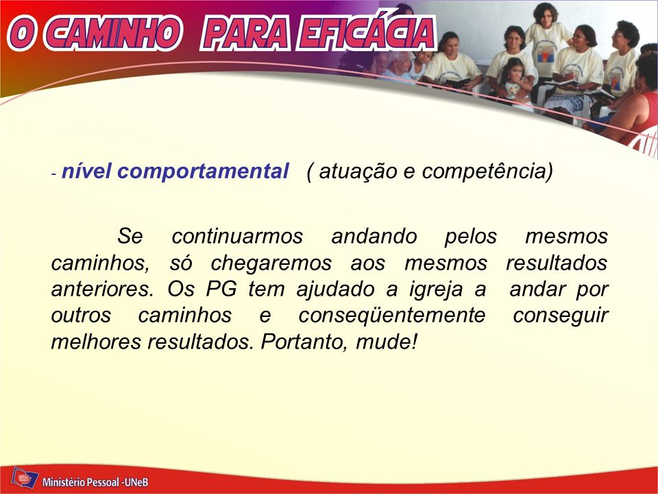 - nível comportamental ( atuação e competência)