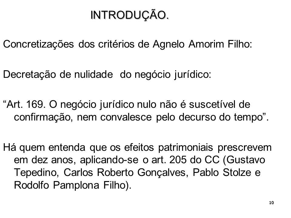 INTRODUÇÃO. Concretizações dos critérios de Agnelo Amorim Filho: