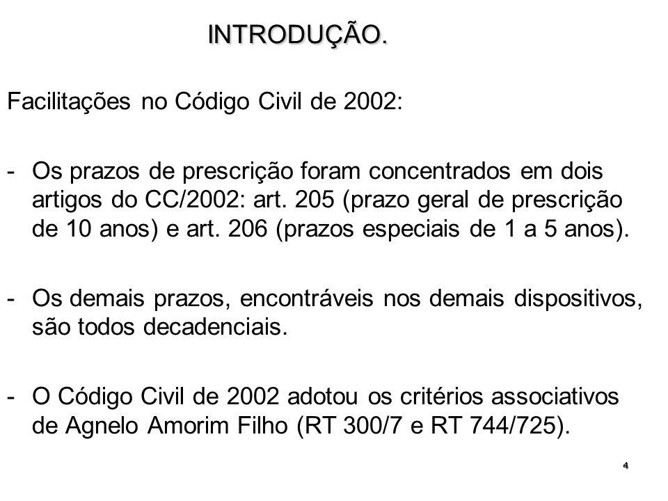 INTRODUÇÃO. Facilitações no Código Civil de 2002: