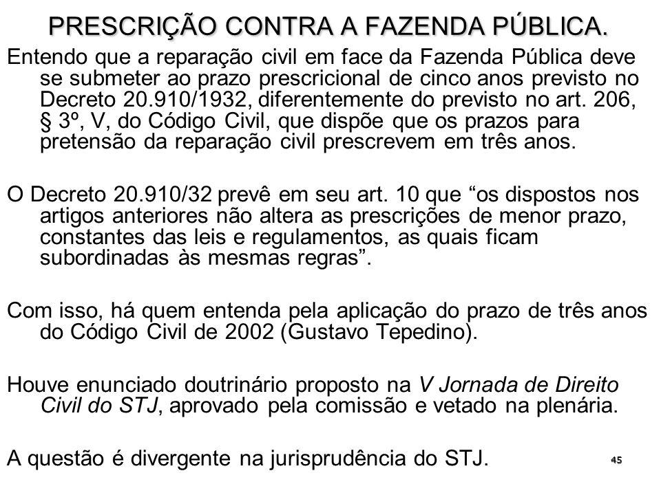 PRESCRIÇÃO CONTRA A FAZENDA PÚBLICA.