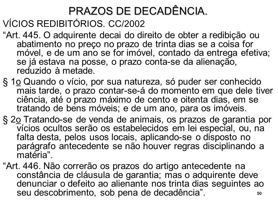 PRAZOS DE DECADÊNCIA. VÍCIOS REDIBITÓRIOS. CC/2002