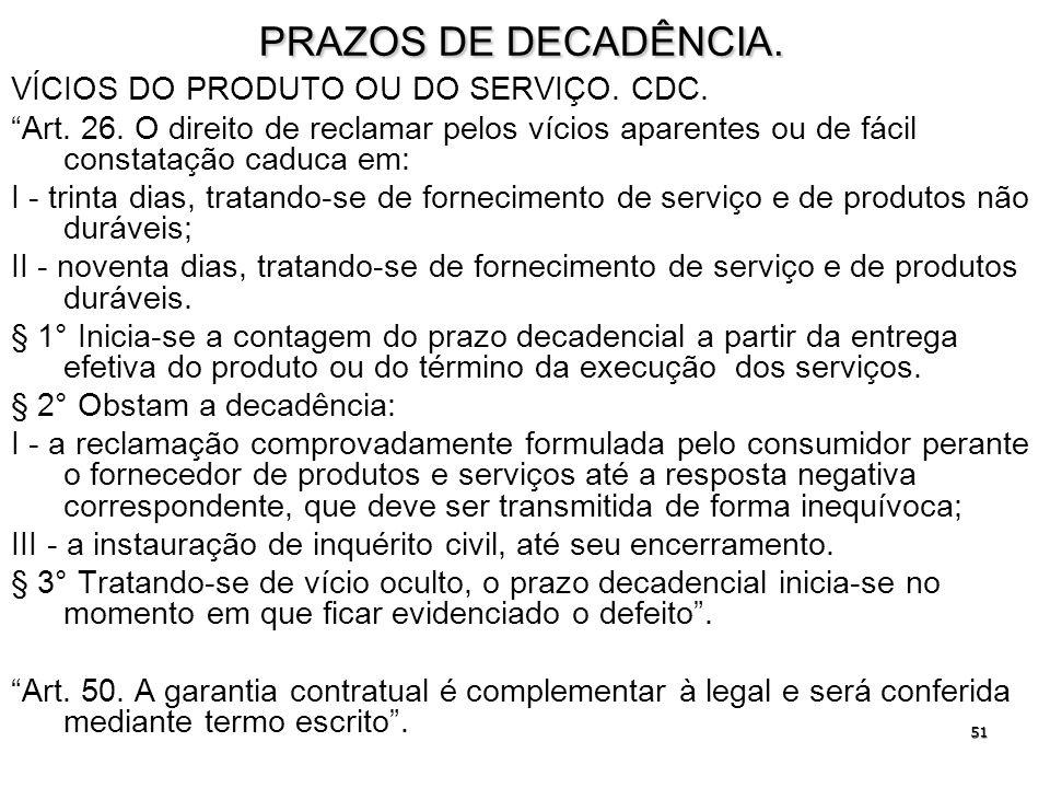 PRAZOS DE DECADÊNCIA. VÍCIOS DO PRODUTO OU DO SERVIÇO. CDC.