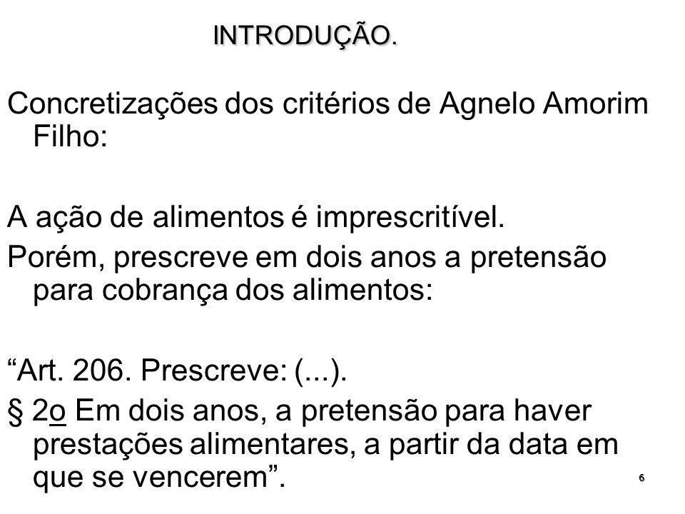 Concretizações dos critérios de Agnelo Amorim Filho: