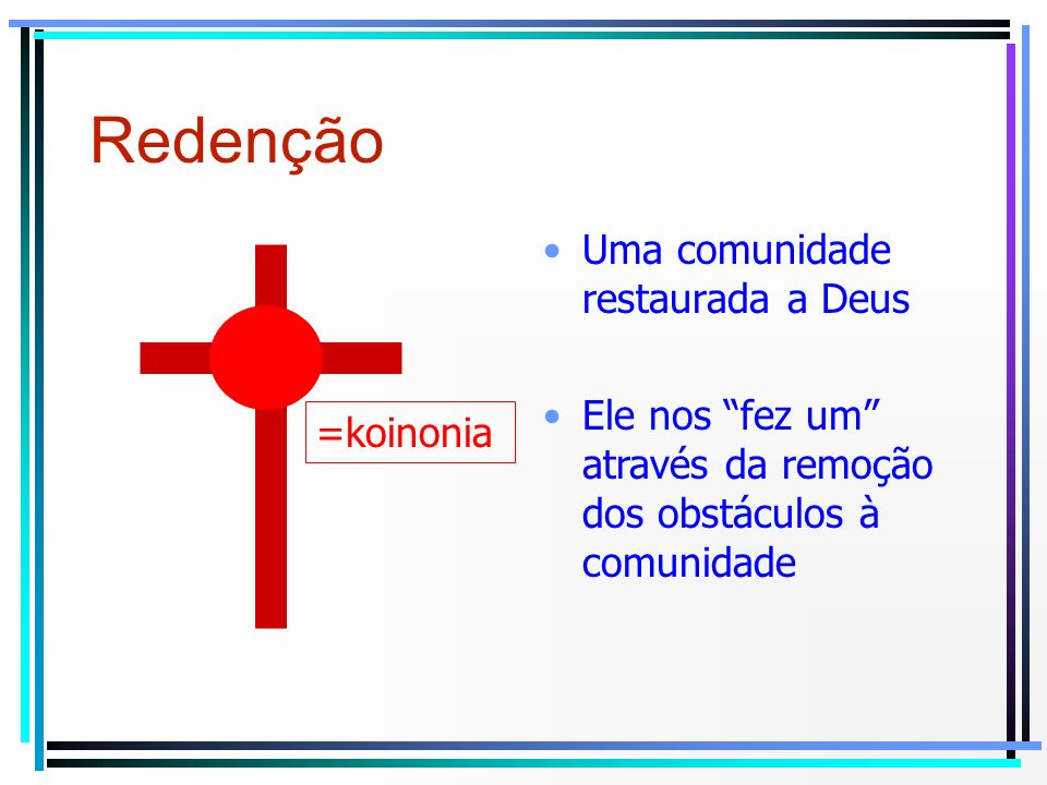 Redenção Uma comunidade restaurada a Deus