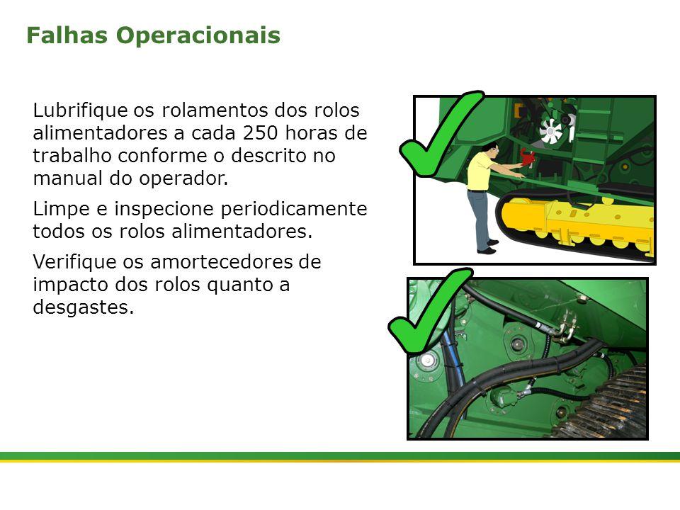 Falhas Operacionais Lubrifique os rolamentos dos rolos alimentadores a cada 250 horas de trabalho conforme o descrito no manual do operador.