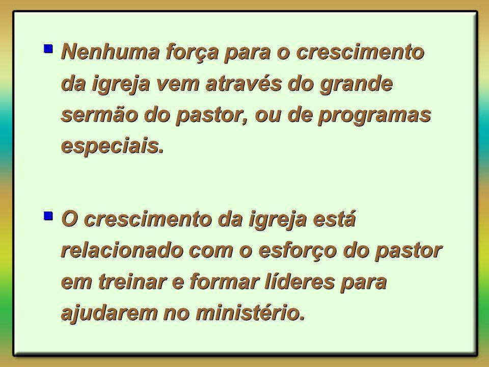 Nenhuma força para o crescimento da igreja vem através do grande sermão do pastor, ou de programas especiais.