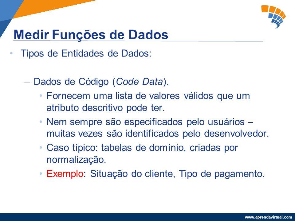 Medir Funções de Dados Tipos de Entidades de Dados: