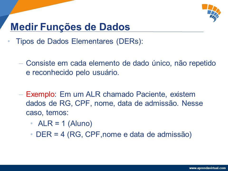 Medir Funções de Dados Tipos de Dados Elementares (DERs):