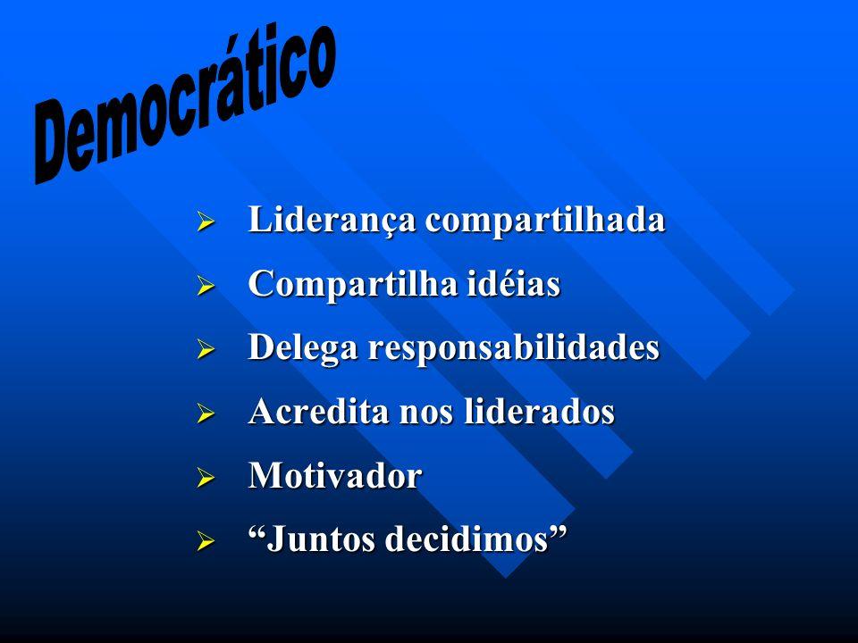 Democrático Liderança compartilhada Compartilha idéias