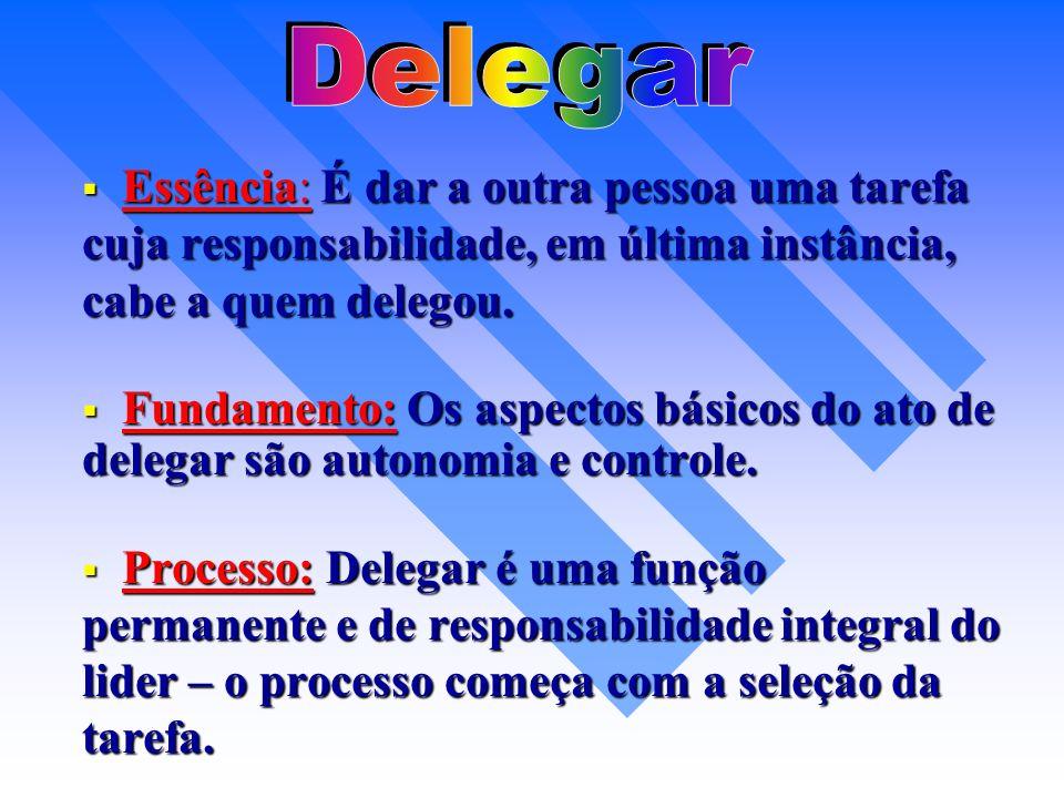 Delegar Essência: É dar a outra pessoa uma tarefa cuja responsabilidade, em última instância, cabe a quem delegou.