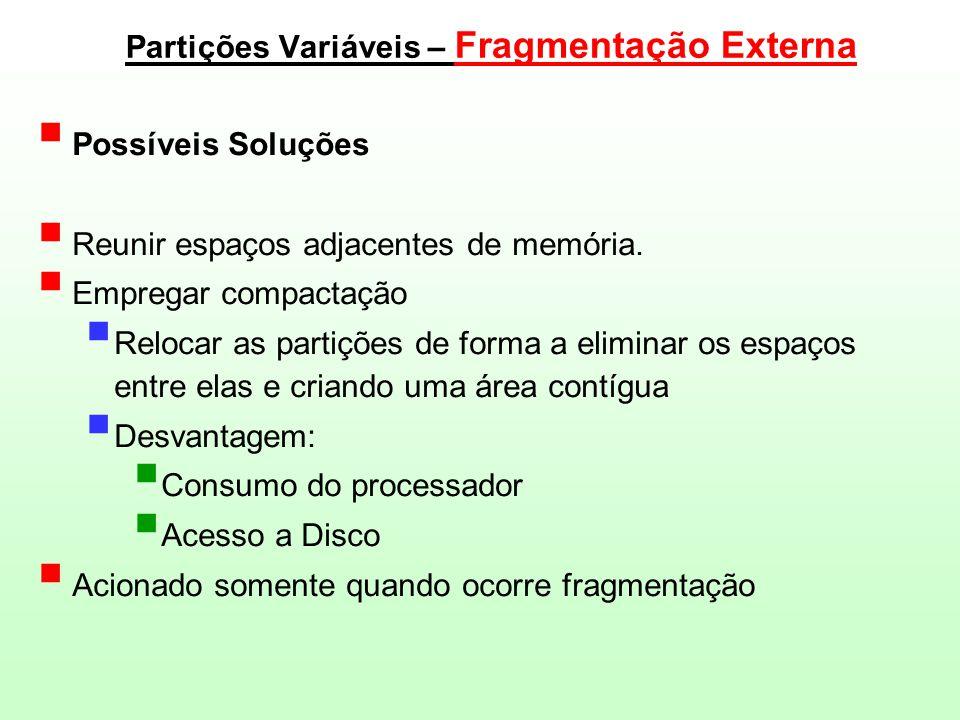 Partições Variáveis – Fragmentação Externa
