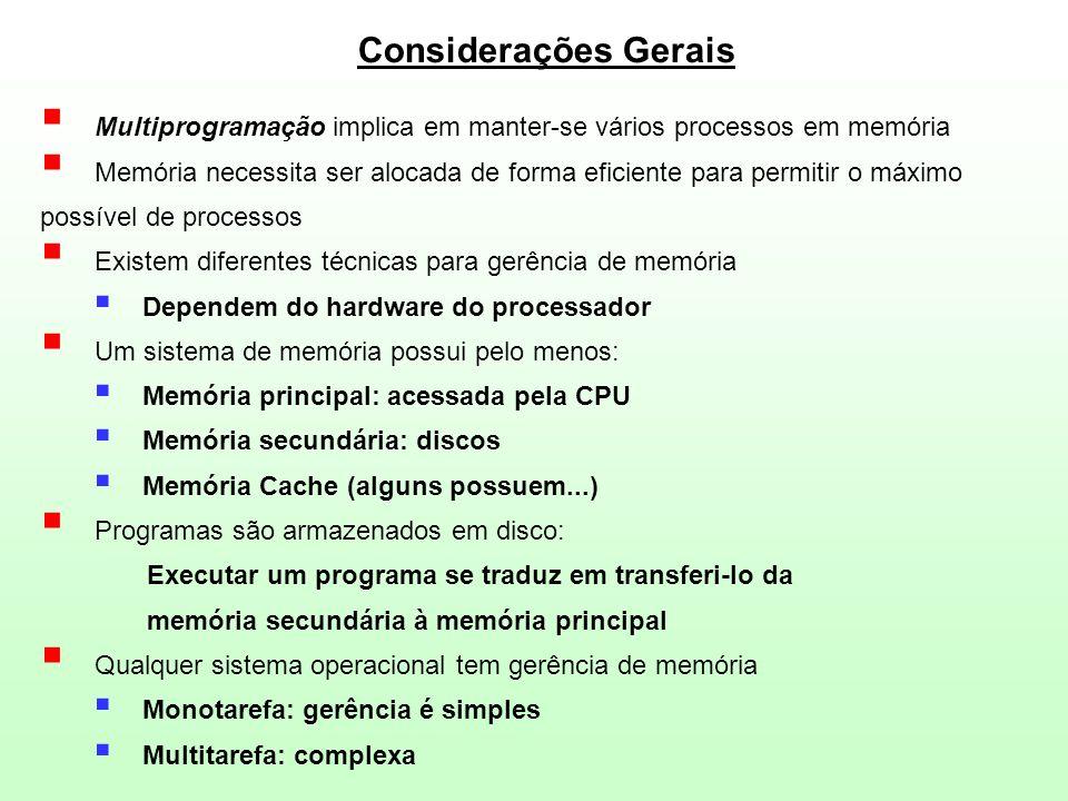 08/04/2017 Considerações Gerais. Multiprogramação implica em manter-se vários processos em memória.