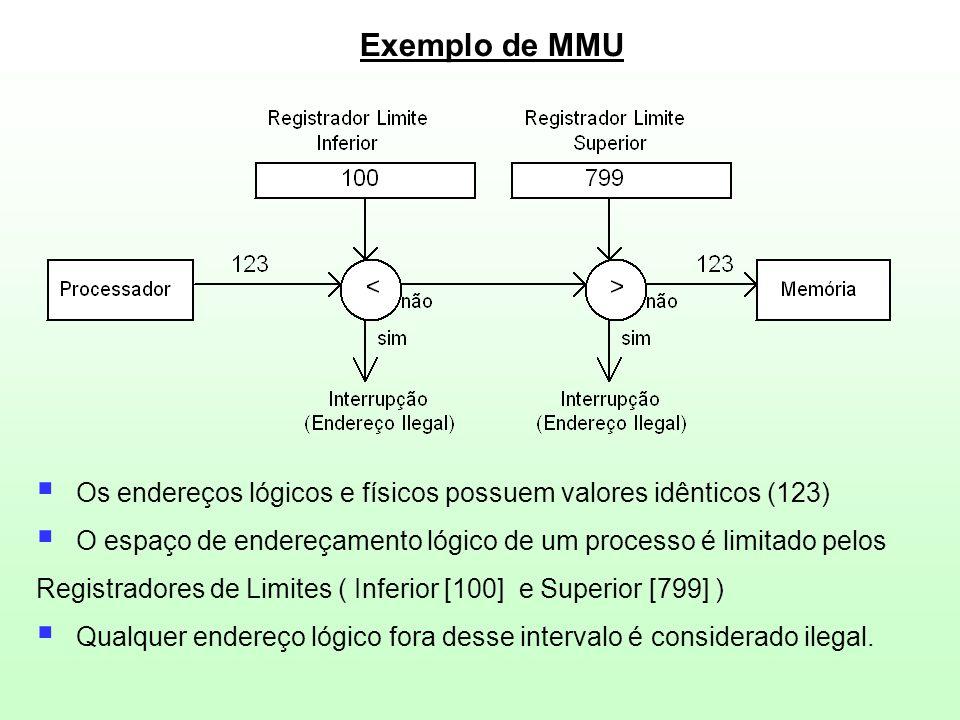 08/04/2017 Exemplo de MMU. Os endereços lógicos e físicos possuem valores idênticos (123)