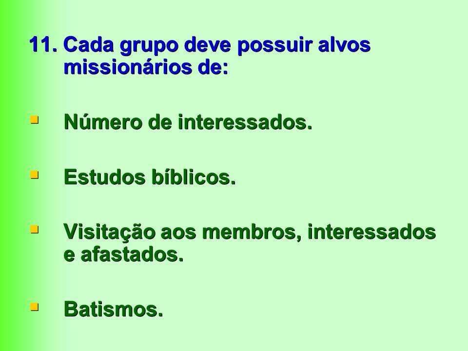 11. Cada grupo deve possuir alvos missionários de: