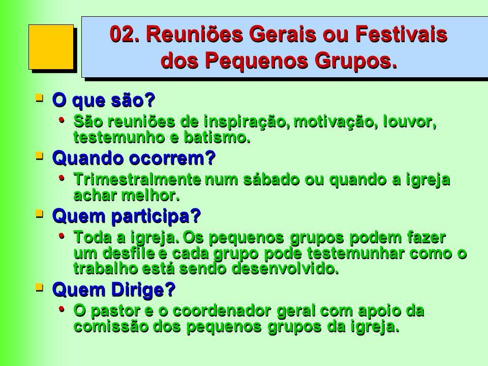 02. Reuniões Gerais ou Festivais dos Pequenos Grupos.