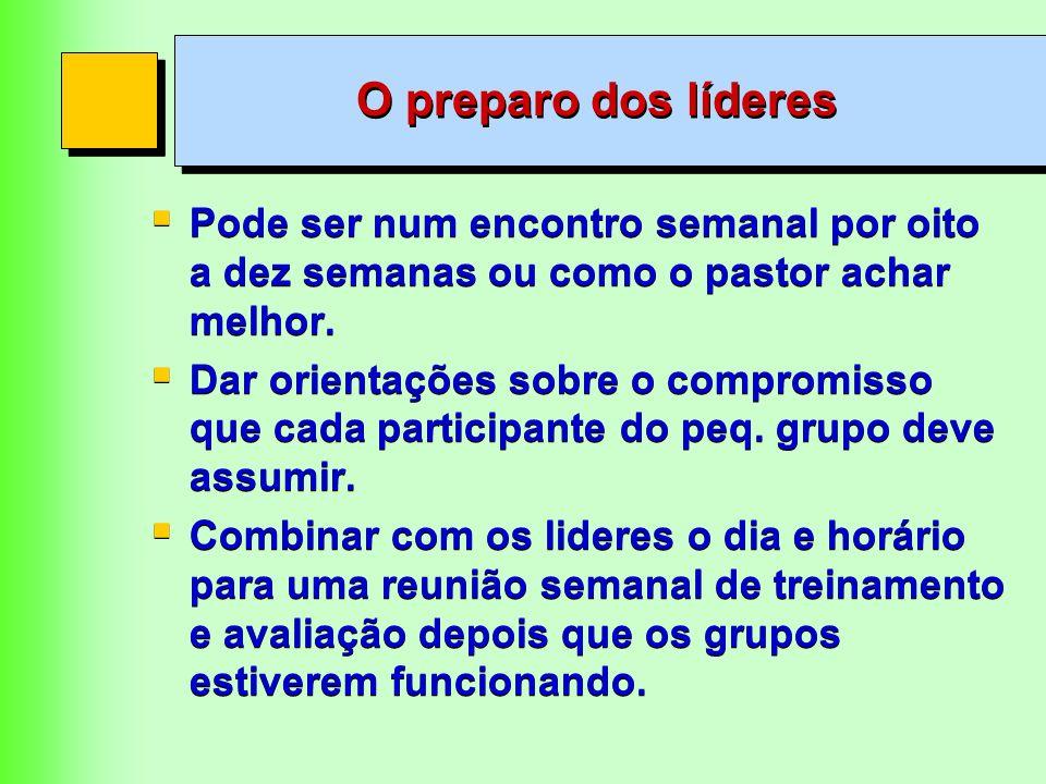 O preparo dos líderes Pode ser num encontro semanal por oito a dez semanas ou como o pastor achar melhor.