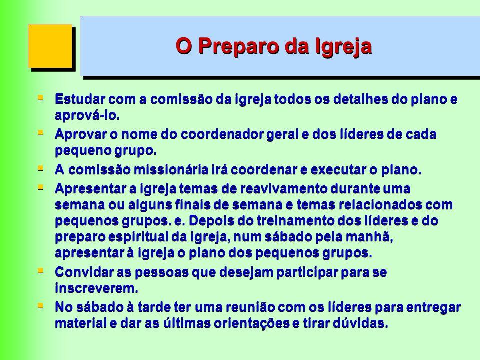 O Preparo da IgrejaEstudar com a comissão da igreja todos os detalhes do plano e aprová-lo.
