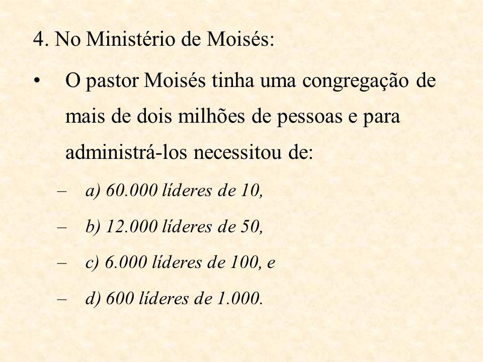 4. No Ministério de Moisés: