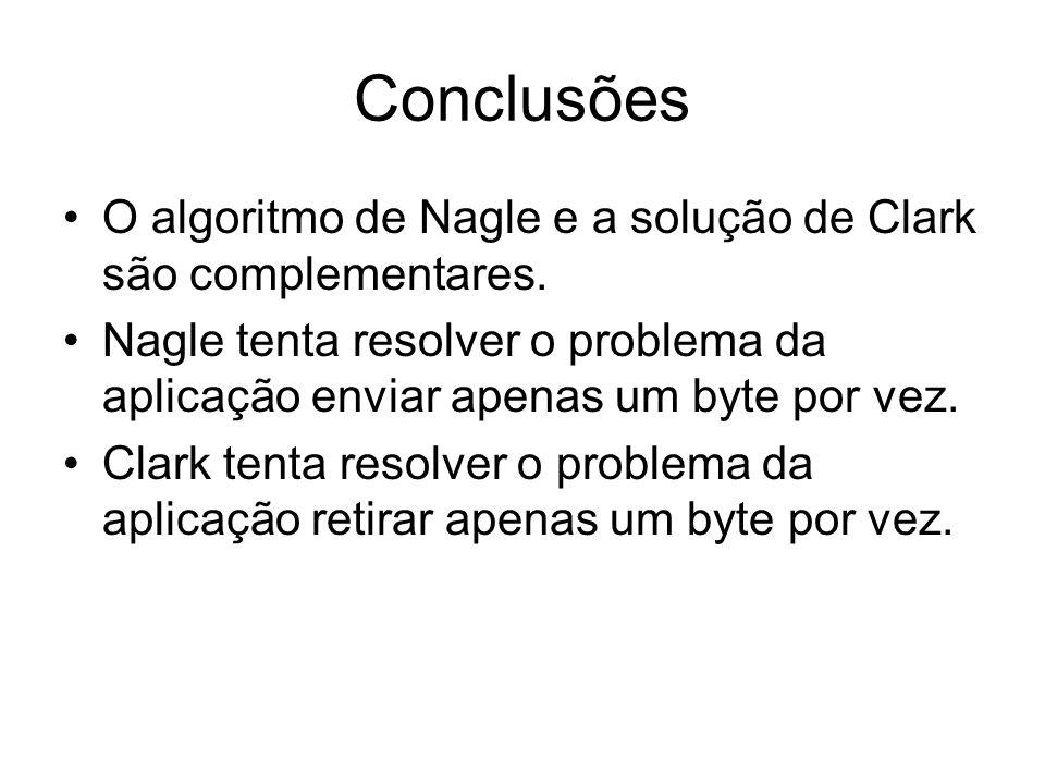 Conclusões O algoritmo de Nagle e a solução de Clark são complementares. Nagle tenta resolver o problema da aplicação enviar apenas um byte por vez.