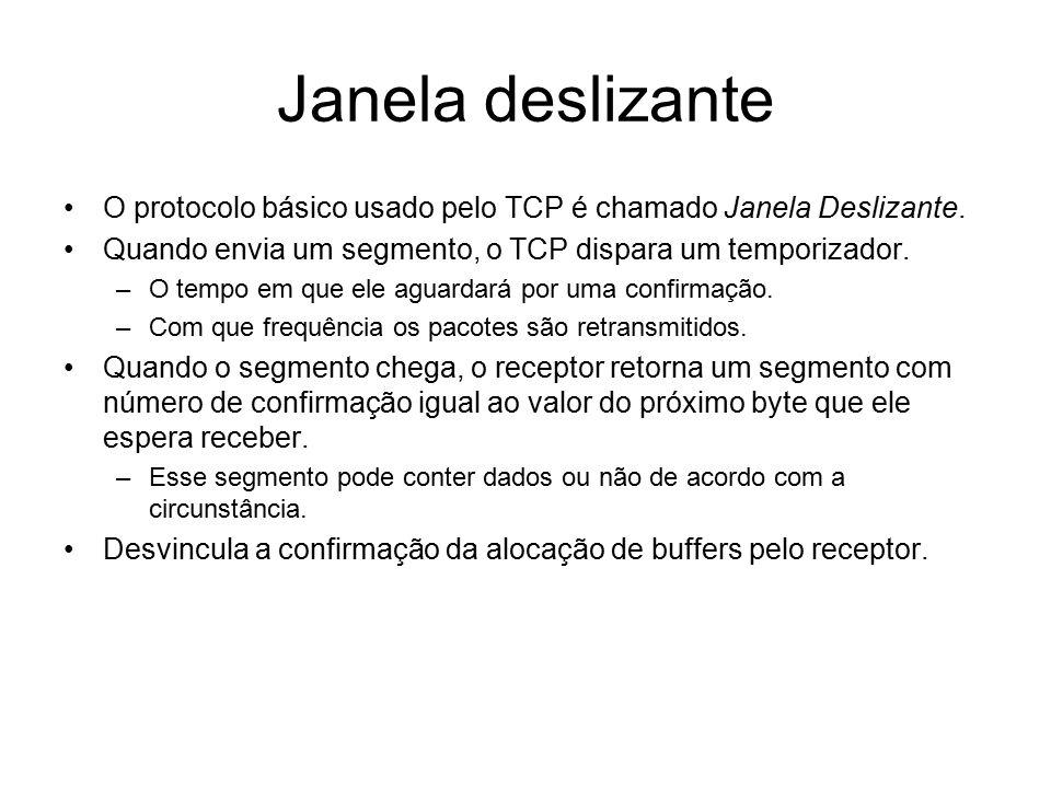 Janela deslizante O protocolo básico usado pelo TCP é chamado Janela Deslizante. Quando envia um segmento, o TCP dispara um temporizador.