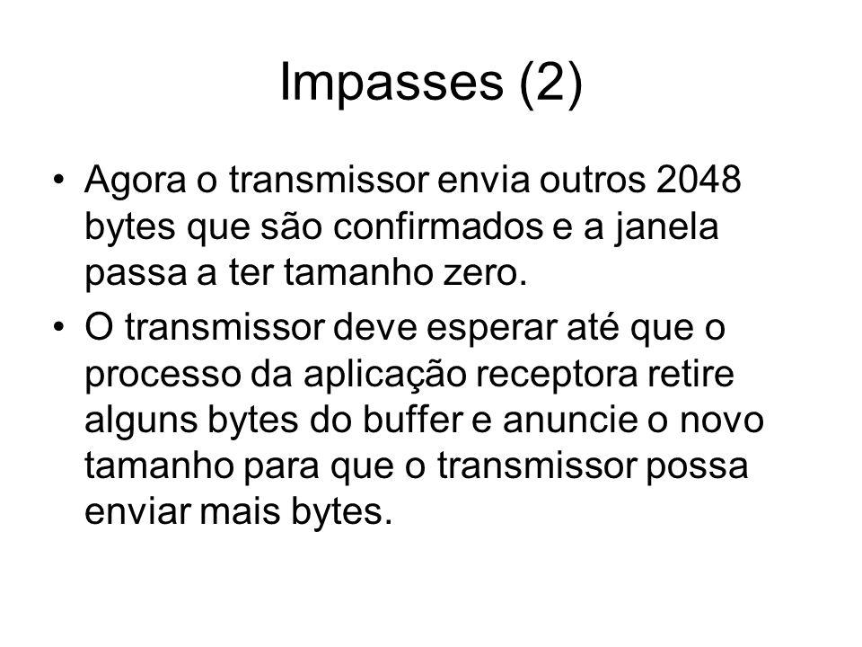 Impasses (2) Agora o transmissor envia outros 2048 bytes que são confirmados e a janela passa a ter tamanho zero.