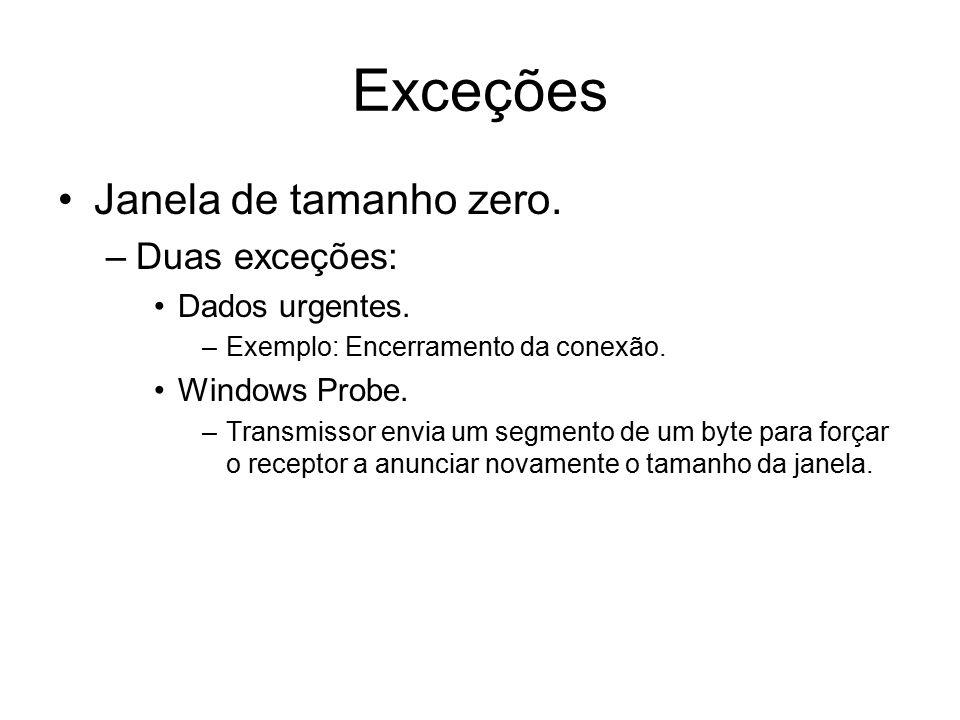 Exceções Janela de tamanho zero. Duas exceções: Dados urgentes.