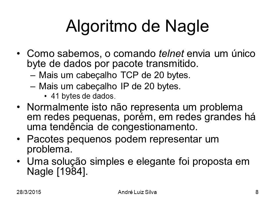 Algoritmo de Nagle Como sabemos, o comando telnet envia um único byte de dados por pacote transmitido.