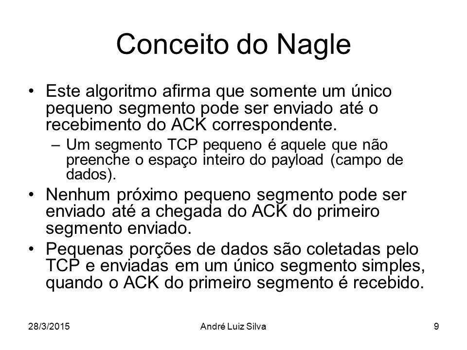 Conceito do Nagle Este algoritmo afirma que somente um único pequeno segmento pode ser enviado até o recebimento do ACK correspondente.