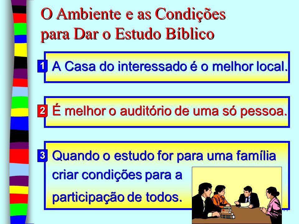 O Ambiente e as Condições para Dar o Estudo Bíblico