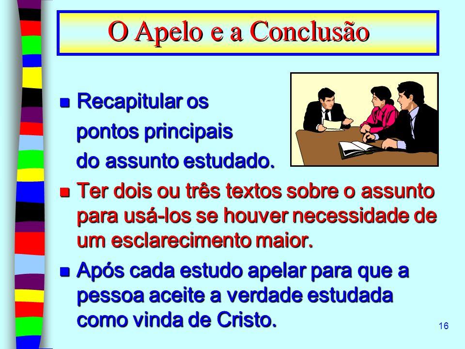 O Apelo e a Conclusão Recapitular os pontos principais
