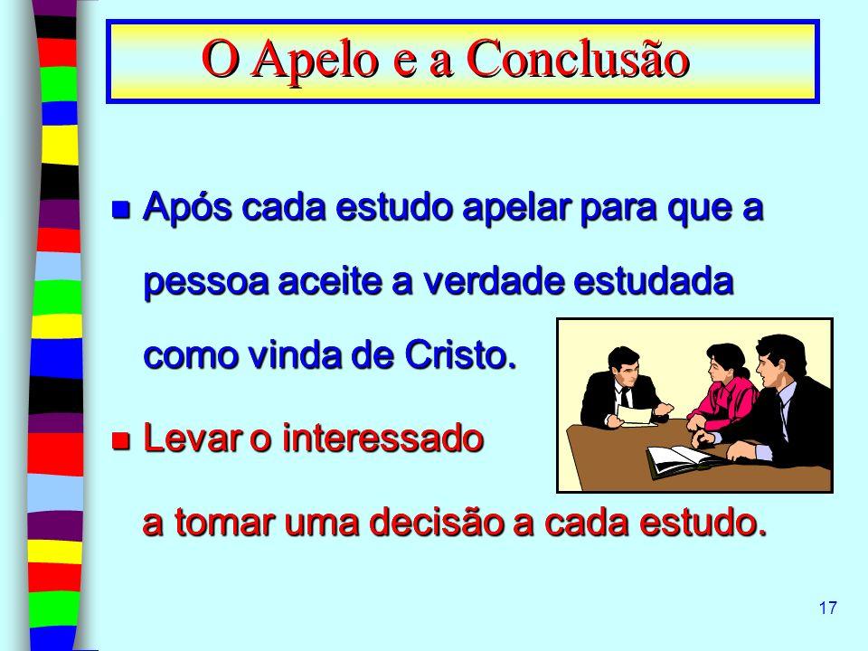 O Apelo e a Conclusão Após cada estudo apelar para que a pessoa aceite a verdade estudada como vinda de Cristo.