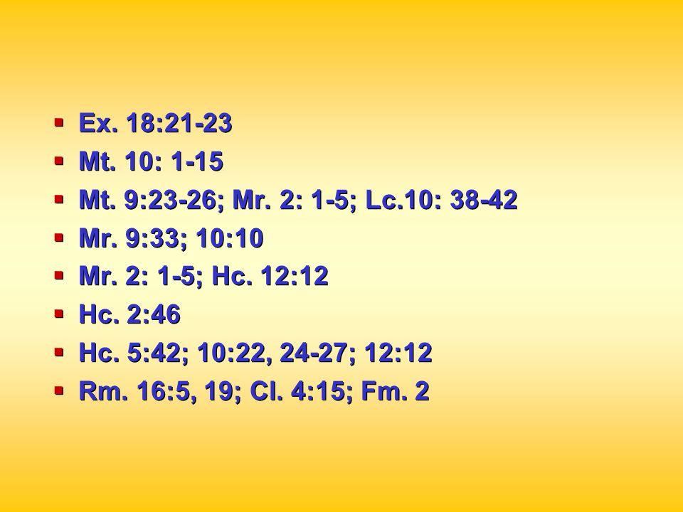 Ex. 18:21-23Mt. 10: 1-15. Mt. 9:23-26; Mr. 2: 1-5; Lc.10: 38-42. Mr. 9:33; 10:10. Mr. 2: 1-5; Hc. 12:12.