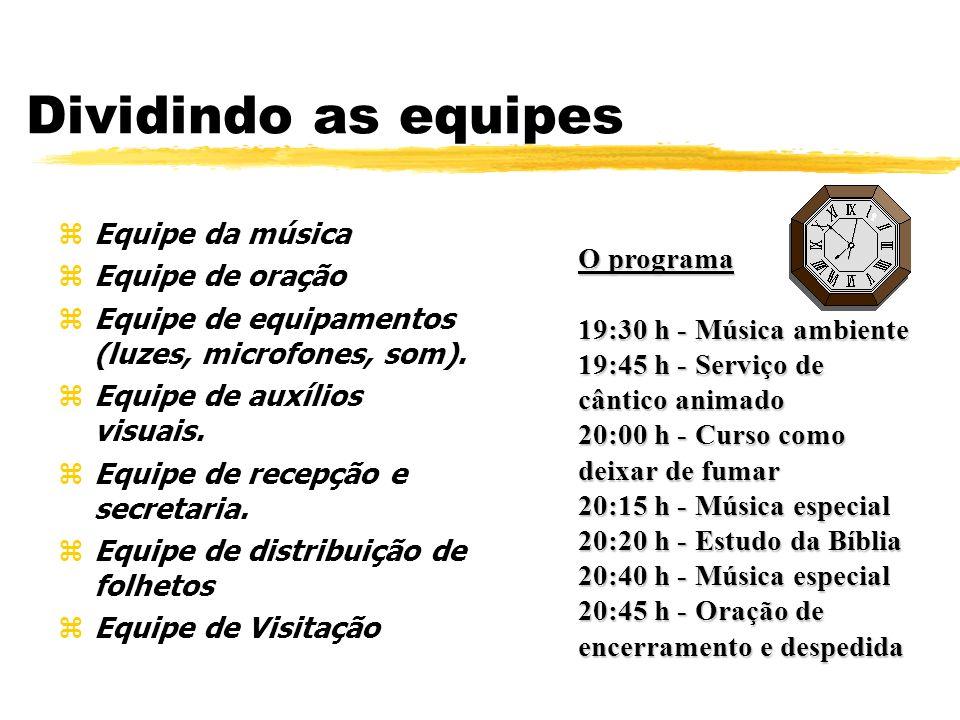 Dividindo as equipes Equipe da música Equipe de oração O programa