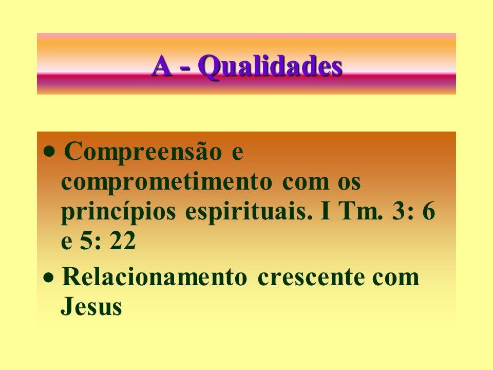 A - Qualidades · Compreensão e comprometimento com os princípios espirituais.