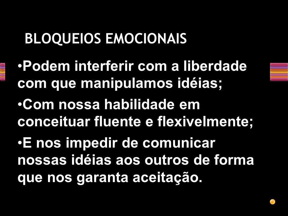 BLOQUEIOS EMOCIONAIS Podem interferir com a liberdade com que manipulamos idéias; Com nossa habilidade em conceituar fluente e flexivelmente;
