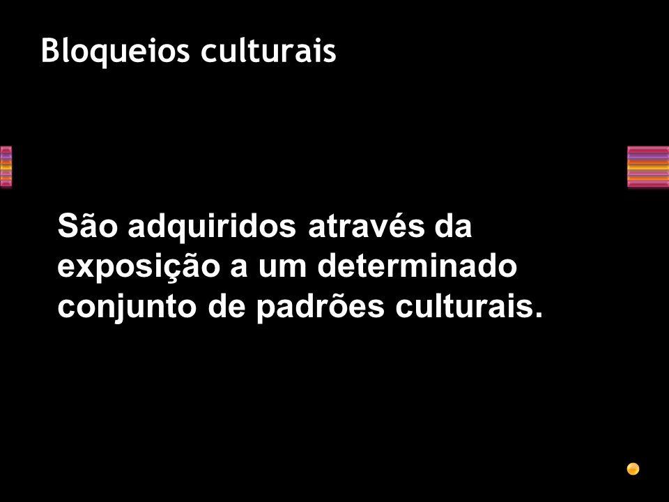 Bloqueios culturais São adquiridos através da exposição a um determinado conjunto de padrões culturais.