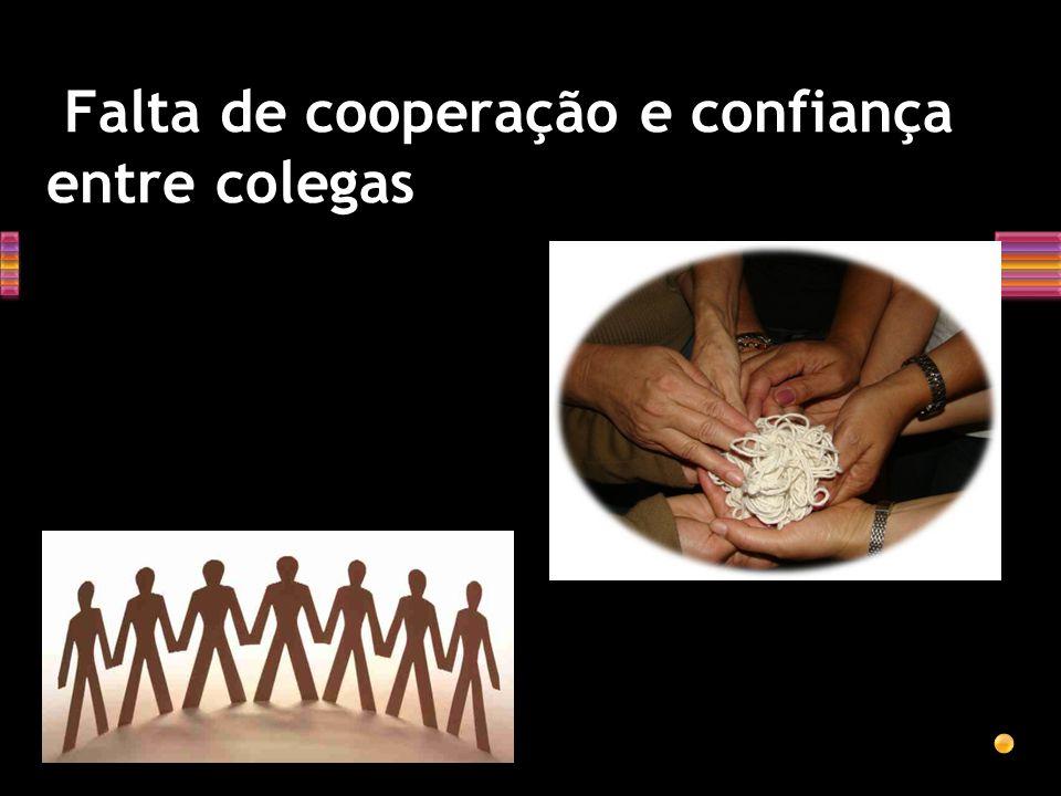 Falta de cooperação e confiança entre colegas
