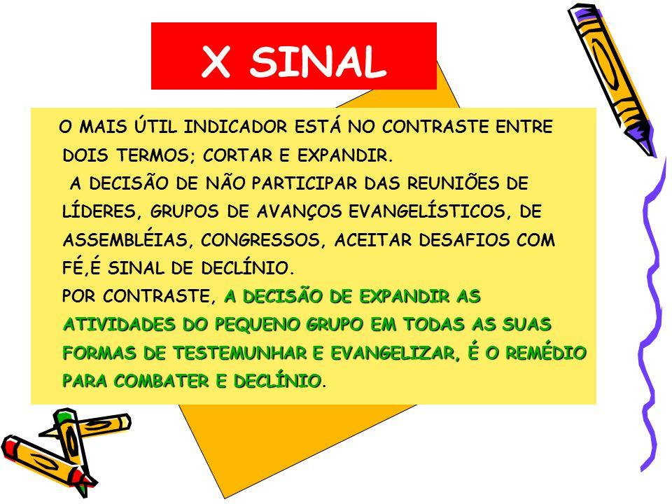 X SINAL O MAIS ÚTIL INDICADOR ESTÁ NO CONTRASTE ENTRE DOIS TERMOS; CORTAR E EXPANDIR.