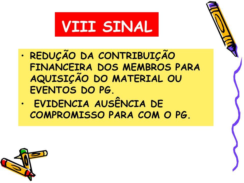 VIII SINAL REDUÇÃO DA CONTRIBUIÇÃO FINANCEIRA DOS MEMBROS PARA AQUISIÇÃO DO MATERIAL OU EVENTOS DO PG.