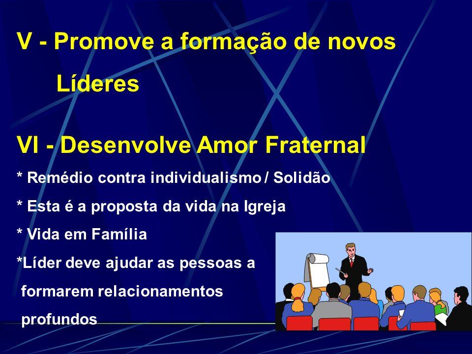 V - Promove a formação de novos Líderes VI - Desenvolve Amor Fraternal