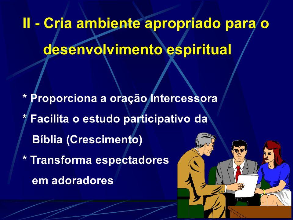 II - Cria ambiente apropriado para o desenvolvimento espiritual