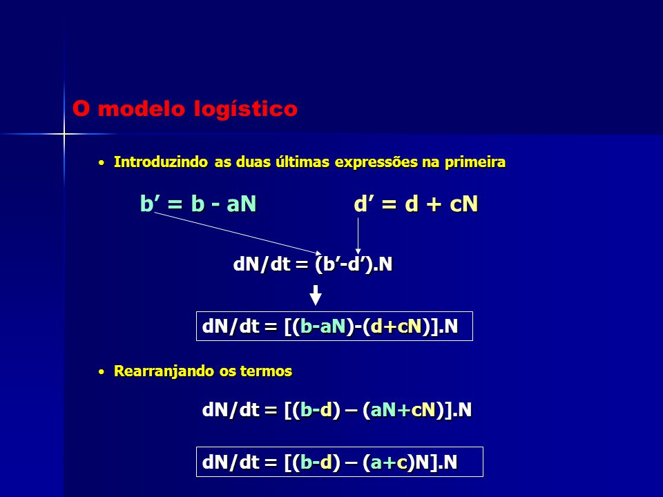 O modelo logístico b' = b - aN d' = d + cN dN/dt = (b'-d').N