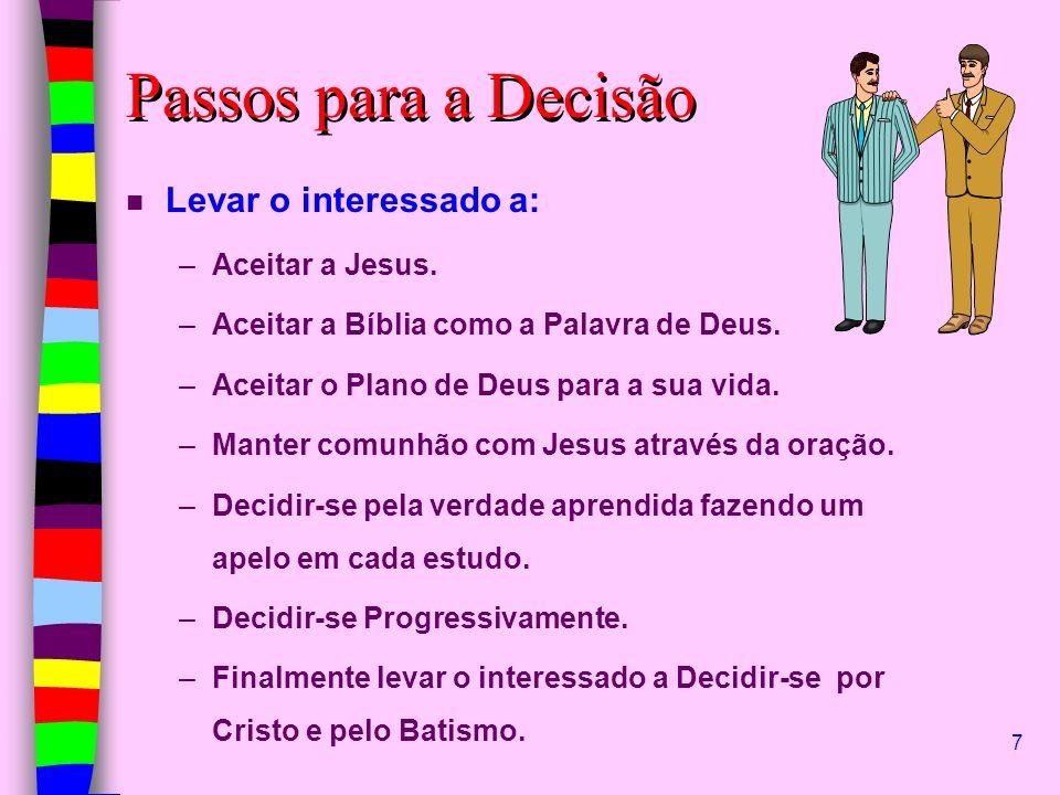 Passos para a Decisão Levar o interessado a: Aceitar a Jesus.