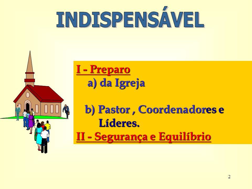 INDISPENSÁVEL I - Preparo a) da Igreja b) Pastor , Coordenadores e