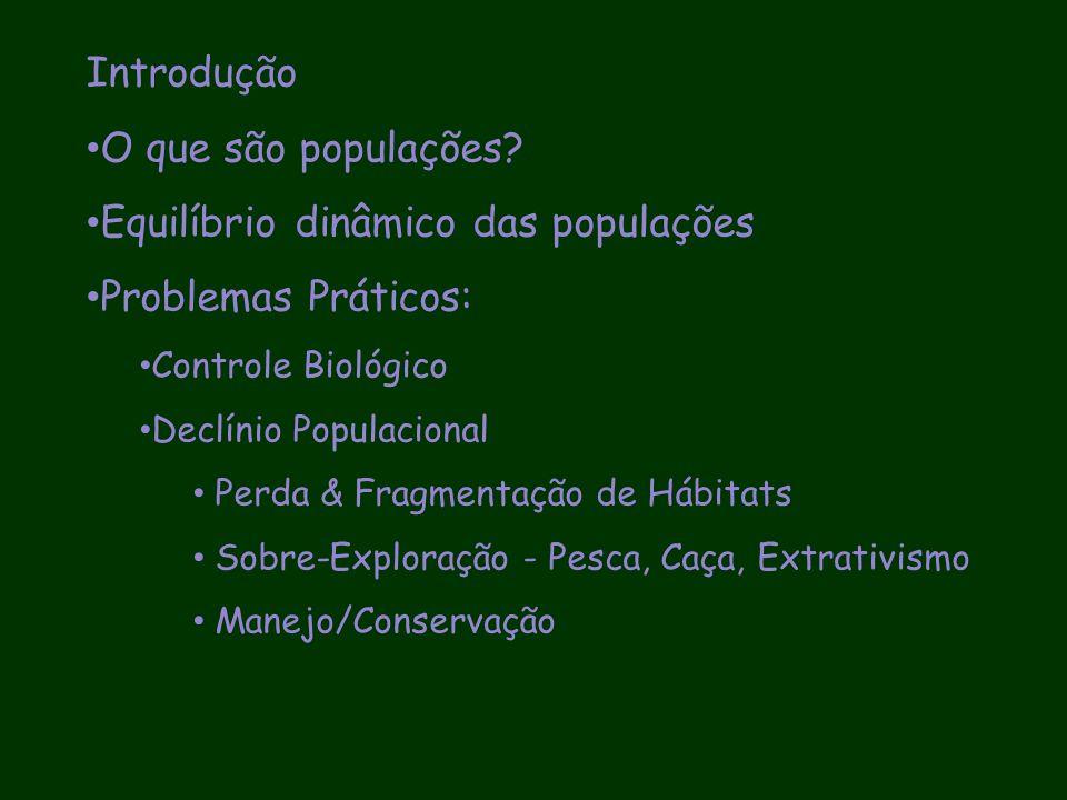 Equilíbrio dinâmico das populações Problemas Práticos: