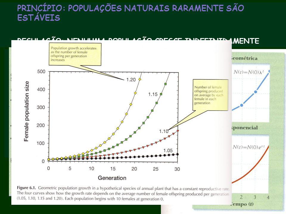 PRINCÍPIO: POPULAÇÕES NATURAIS RARAMENTE SÃO ESTÁVEIS