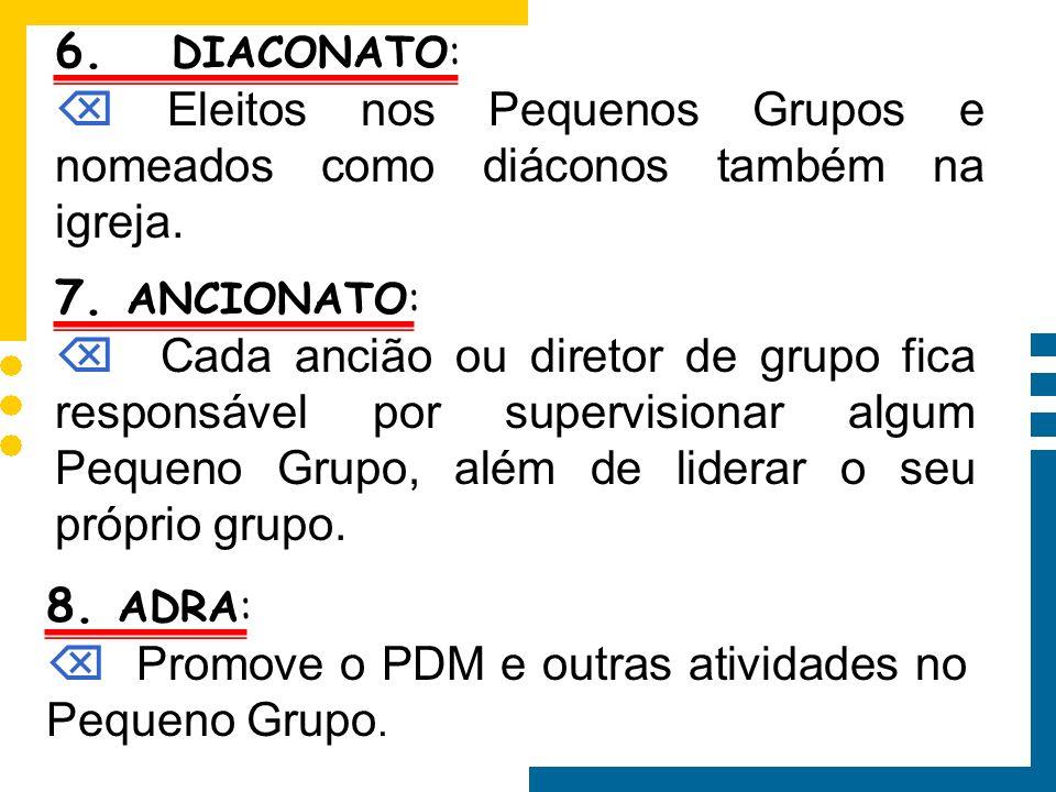 6. DIACONATO: Eleitos nos Pequenos Grupos e nomeados como diáconos também na igreja. 7. ANCIONATO: