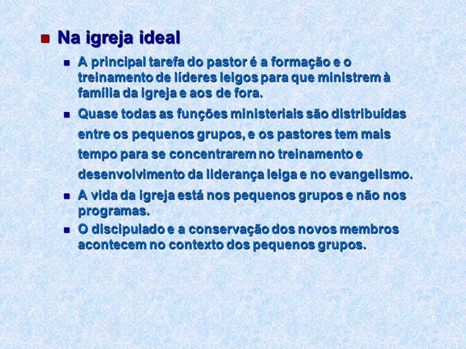 Na igreja idealA principal tarefa do pastor é a formação e o treinamento de líderes leigos para que ministrem à família da igreja e aos de fora.